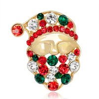 Wholesale New Year Merry Christmas Kind Santa Rhinestone Brooch Pins For Women Girls Fashion Jewelry Gold Christmas Gift