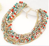 bead necklace stores - Fashion jewelry store Bohemia ethnic style beads multilayer short necklace collar statement necklaces for women jewellery charm bracelets