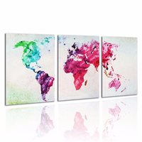 Cheap Unframed Canvas Prints Modern Picture-Colored World Map Wall Artistic Abstract Picture Home Decor Wall Sticker Wallpaper