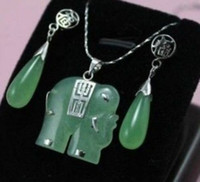 Wholesale gt gt gt gt Exquisite green jade elephant Jewellery necklace Pendant earring Set