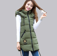 Wholesale Fashion Army Green Casual Women Vests Long Winter Vest Women Coat Hooded Thick Slim Ladies Coats Outerwear Pink