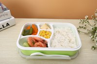 Wholesale Three Color Five Grid Bento Microwave Lunch Box Rectangle Crisper Portable Picnic Container Storage Spoon Food Grade PP BPA Free