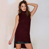 Cheap Sleeveless burgundy HiLo roll neck jumpers women autumn side split ribbed sweaters ladies turtle neck pullovers long slim fit knitted tops