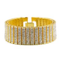 achat en gros de bracelets de zinc pour les hommes-Men Hip Hop Bracelet Iced Out Silver Gold Zinc Alloy Chain Bracelet Simulated Diamond Tennis HipHop Bracelet pour Party Gift