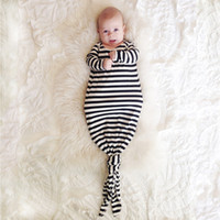 Wholesale INS hot infant baby Mermaid sleeping bag stripped sleepsack baby romper blanket baby body suits