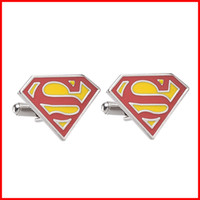 Wholesale Super hero Superman Cufflink S Cuff Links men party shirt dress suits Cuff links sleeve button jewelry