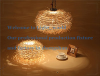 Wholesale Novelty Nordic Lamp Creative Wood pendant Lights v E27 Nest Bird Cage Lamp With Incandescent Bulbs For Light Home