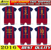 Wholesale Custom Baby Sleeveless Jumpers New Best Quality shirts Soccer MESSI NEYMAR SUAREZ PIQUE HOME baby oneise romper for M
