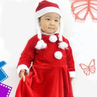 Wholesale 3 years Old Set Of One Suit Christmas Dress For Lassock Santa Claus Suit Cosplay clothes Pleuche Christmas Costumes Product code