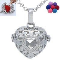 antique heart lockets - 1pc Copper Antique Silver Heart Shape Aromatherapy Essential Oil Hollow Diffuser Locket Necklaces for Women