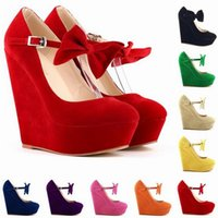 ankle chain shoes - 2016 high heels women dress shoes suede purple wedges black wedges women s ankle strap high plarform wedges wedding heel shoes