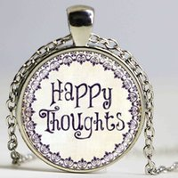 art thoughts - HAPPY thoughts inspirational jewelry quotes words positive thinking art pendant with ball chain necklace