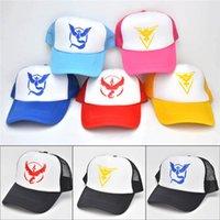 Wholesale Breathable Hip Hop Poke Mon Go Caps Pocket Monster Embroidery Hats Casual Poke Mon Pikachu Baseball Caps Adjustable Net Hats