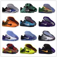 al por mayor rosa teje-2016 zapatos de baloncesto baratos de los hombres de la élite de la venta kobe 11 para el negro blanco de calidad superior XI KB que teje los deportes que entrenan a las zapatillas de deporte Tamaño 7-12