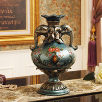 american cabinets - European style of the ancient vase flower of modern American country living room after the Mediterranean luxury TV cabinet decoration flower