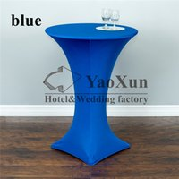 Wholesale Royal Blue Color Cocktail Table Cover Lycra Spandex Spandex Table Cloth