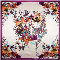 hand painted silk scarf - Butterfly and Hand Painted Flower women silk satin large square scarf cm cm