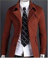 Wholesale Wool Mens Coat Lapel Neck Slim Fit Overcoat Trench For Men Wild Casual Epaulet Design Men Winter Coats Single Breasted Overcoats J160915