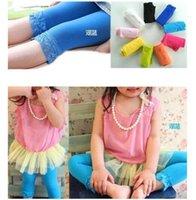 Wholesale Summer children s leggings Kids baby girls velvet candy color leggings summer girls lace leggings children Cropped Pants