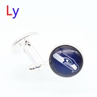 fashion jewelry usa - Fashion super bowl Seattle Cufflinks Jewelry Seahawks Men s Cuff links Metal Cufflink Sets USA football Shirt Accessories YD0037