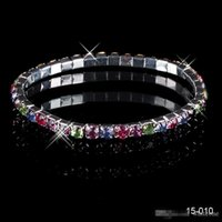 Wholesale 15010 Cheap Elastic1 Row Multi stone Crystal Bangle Bridal Bracelets Wedding Party Evening Prom Jewelry Bridal Accessories