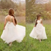 Wholesale 2016 Sequin Flower Girls Dresses for Weddings Sleeveless Backless Hand Made Flower Long Floor Length White Tulle Girls Pageant Gowns