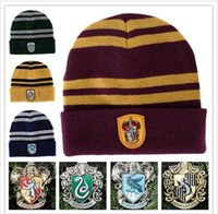 acrylic winter cap - Harry Potter Beanie Ravenclaw Gryffindor Skull Caps Slytherin Hufflepuff Knit Hats Cosplay Costume Caps School Striped Badge Hats Gift B1103