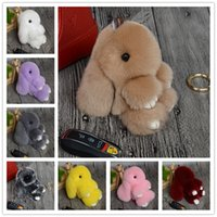 backpack rabbit - 2016 New Rex Play Dead Rabbit Key chain Colors Fur Car Backpack Rabbit Doll Pendant Fashion Toys Wallet Handbag Pendant Without Box