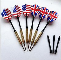 Wholesale 12 packs steel tip darts with national flag flights aluminum shaft sand brass barrels Steel Needle Tip Darts With Nice National