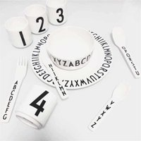 baby china dishes - 2016 New Fashion Design Letters Pattern Safety Melamine Baby Feeding Dinner Knife And Fork non toxic Dishes Dinnerware Sets B987