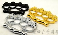 Wholesale 2016 QTY Summoner wrapped Bones knuckles handcuffs CHOPPER CHROME BRASS KNUCKLES KNUCKLEDUSTER BUCKLE Safety Products Knife Queen Kito