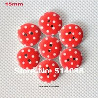 altered art cards - 120pcs mm Painted Wooden Button Sewing Crafts Card Making or Altered Art red spotty SY0242B