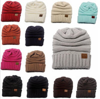 2017 Nueva Beanie hombres mujeres CC sombrero de moda caliente fornida de gran tamaño suave de gran tamaño Cable de punto Beanie Slouchy color 13