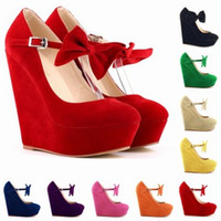 Wholesale Chaussure Femme Womens Sexy Suede High Heels Bow Wedges Shoes Platform Strappy Autumn Summer Shoes Size US D0061