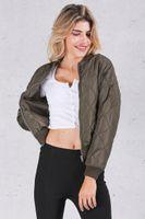 basics winter jacket - Winter pilot basic jacket coat Zipper black bomber jacket women Cool sport biker outwear short parka