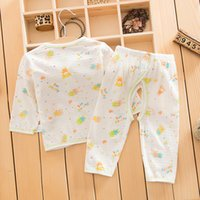baby sweat suits - Summer cotton baby underwear set baby clothing sweat absorbent breathable cotton underwear pants suit slub cotton