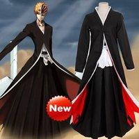Wholesale Hot Anime Bleach Kurosaki ichigo Cloak Robe Pants Cosplay Costume Halloween Uniform Size S M L XL XL