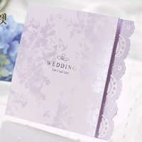 Wholesale 50 sets Light Purple Lace Laser Cut Tri folded Wedding Cards Invitations with Envelope and Seal free Printing Convites Casamento