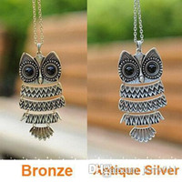 anniversary articles - Korea Adorn Article Vintage Owl Pendants Necklace Ancient the Owl Sweater Chain Jewelry N1177 N1176