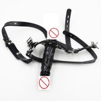Wholesale Adult Penis Gag with Double Headed Dildo Slave Fetish Head Bondage Harness PVC Leather Restraint Sex Toy For Sex Game