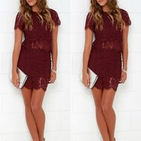 Wholesale 2016 Popular Burgundy Homecoming Dresses Lace Sheath Column Short Sleeves Maroon Custom Made Prom Party Gowns Cocktail Wear