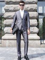 2016 smoking dello sposo Groomsmen grigio laterale Vent Slim Fit uomo migliore abito da sposa / Abiti da uomo su misura Sposo Mad (Jacket + Pants) FS0003