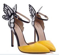 achat en gros de jaune talons hauts-Big Taille 2016 chaussures wed minces Talons Femmes Pompes 8 / 11cm, Papillon Talons Sandales, Chaussures Sexy pour la mariée Parti jaune noir violet