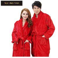 bath spa s - Men Women Luxury Flannel Coral Fleece Spa Bathrobe Long Kimono Bath Robe Female Thick Sleepwear Peignoir Soft Long Sleeve Gowns