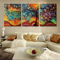 Wholesale 3 Piece Large Wall Art Home Decor Abstract Tree Painting Colorful Landscape Paintings Canvas Picture For Living Room Decoration No Frame