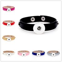 Wholesale New Punk leather Band Button bracelet Noosa jewelry fit DIY MM Ginger Snap Buttons nosa Chunk for women mixed SZ0337