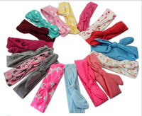 hair turban - 20pcs Xmas Bohemian cotton girl baby bow Headband Wave point Turban Twist Head Wrap Twisted Knot Soft Hair band Headbands Bandanas FD6521