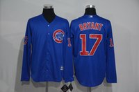 best new fonts - New Style Chicago Cubs Jerseys Mens Kris Bryant Blue with Red Font Long Sleeve Cool Base Baseball Jersey Accept Mixed Orders Best Quality