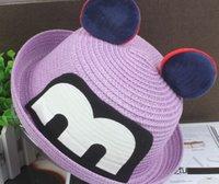 baby boy straw hat - 10pcs The new baby children hats Boys girls noctilucent mickey straw hat uv summer sun hat