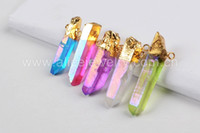 angels bail - Gold Plated Titanium Multi Color Angel Aura Quartz Crystal Point Pendant Connector Bead with Double Bails Jewelry Accessories G0438